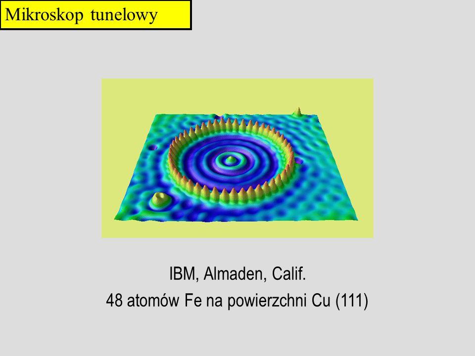IBM, Almaden, Calif. 48 atomów Fe na powierzchni Cu (111) Mikroskop tunelowy