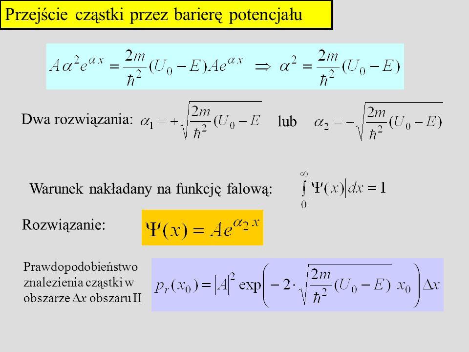 Przejście cząstki przez barierę potencjału Dwa rozwiązania: lub Warunek nakładany na funkcję falową: Rozwiązanie: Prawdopodobieństwo znalezienia cząst