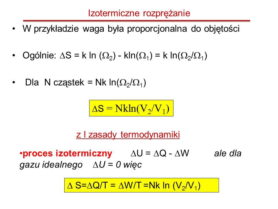 Izotermiczne rozprężanie W przykładzie waga była proporcjonalna do objętości Ogólnie: S = k ln ( 2 ) - kln( 1 ) = k ln( 2 / 1 ) Dla N cząstek = Nk ln(