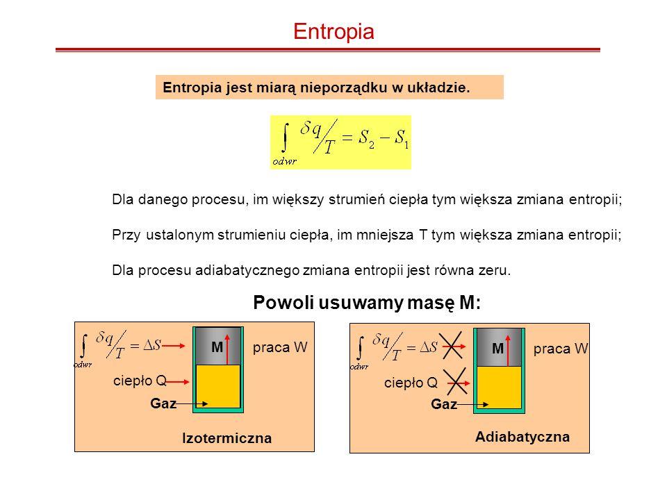 Izotermiczne rozprężanie Więc S dla jednej cząstki: S = k ln (2) Dla dwóch cząstek: S = 2k ln (2)= k ln (2 2 ) Dla 1 mola cząstek: S = k ln (2 Na ) = N a k ln(2) = R ln(2) = 5.64 J/mol.K