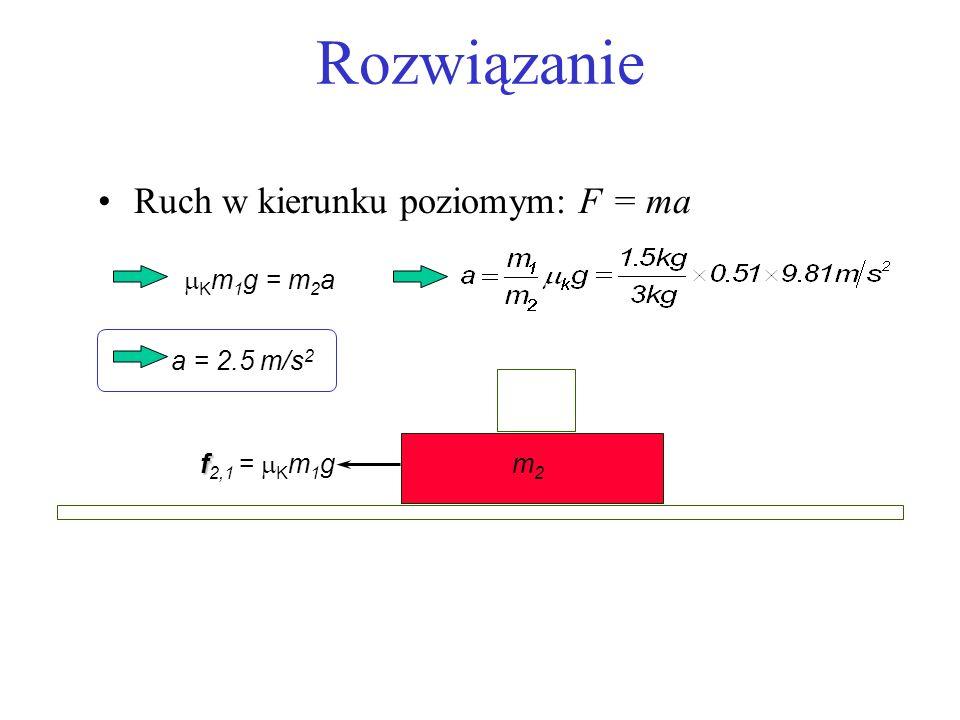 Rozwiązanie Ruch w kierunku poziomym: F = ma m2m2 f f 2,1 = K m 1 g K m 1 g = m 2 a a = 2.5 m/s 2