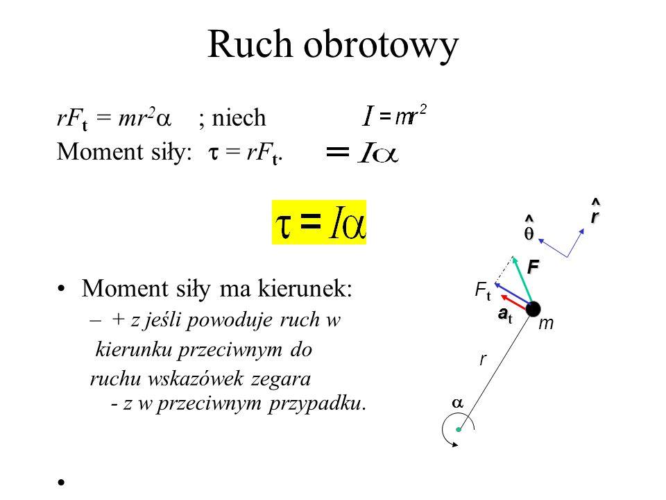 Ruch obrotowy Załóżmy, że cząstka porusza się po okręgu. Niech na cząstkę działa siła F. Siła ta powoduje przyspieszenie styczne: a t = r Z II zasady
