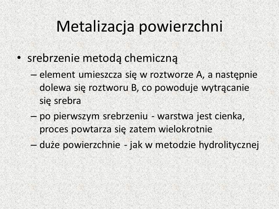 Metalizacja powierzchni srebrzenie metodą chemiczną – element umieszcza się w roztworze A, a następnie dolewa się roztworu B, co powoduje wytrącanie s