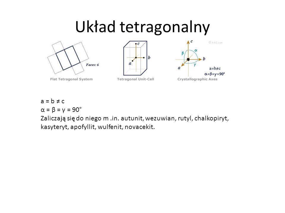 Układ tetragonalny a = b c α = β = γ = 90° Zaliczają się do niego m.in.