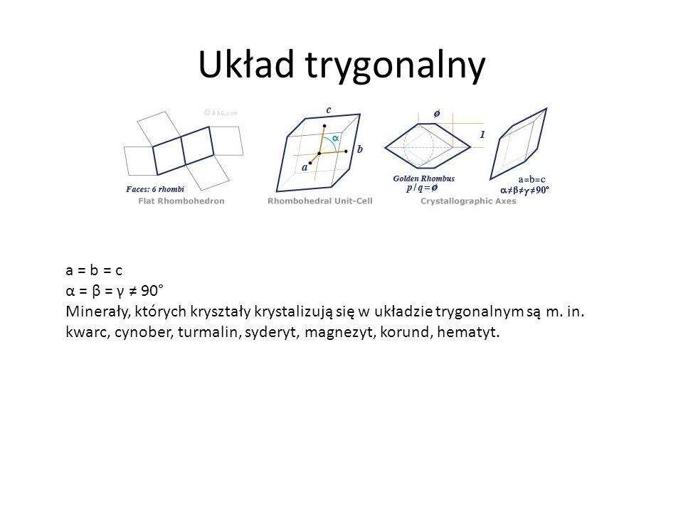 Układ trygonalny a = b = c α = β = γ 90° Minerały, których kryształy krystalizują się w układzie trygonalnym są m.