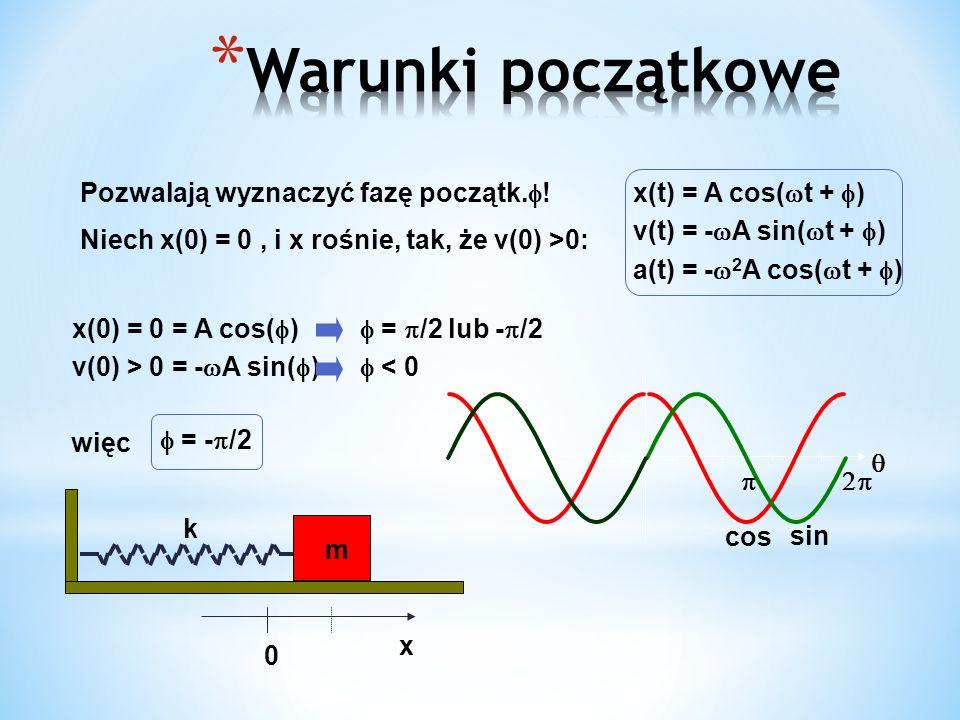 k x m 0 Pozwalają wyznaczyć fazę początk. ! Niech x(0) = 0, i x rośnie, tak, że v(0) >0: x(0) = 0 = A cos( ) = /2 lub - /2 v(0) > 0 = - A sin( ) < 0 x
