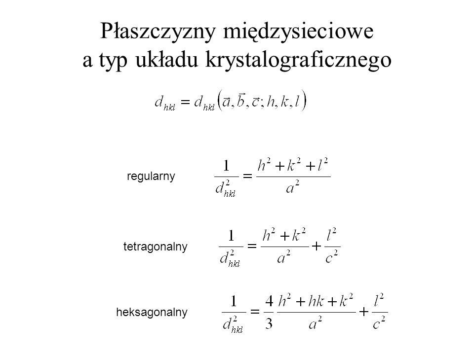 Płaszczyzny międzysieciowe a typ układu krystalograficznego regularny heksagonalny tetragonalny