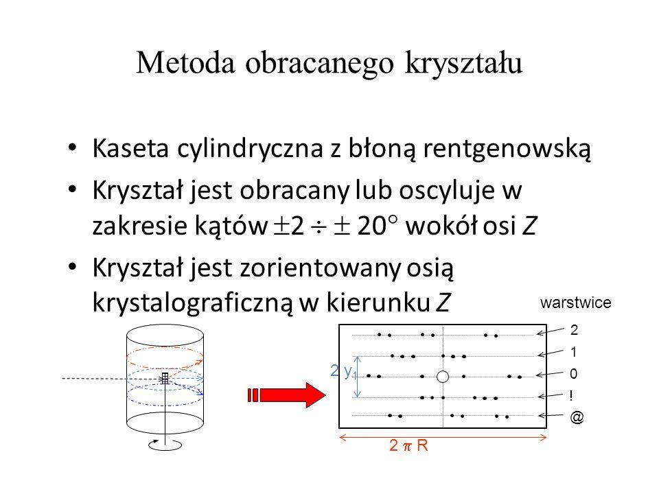 Metoda obracanego kryształu Kaseta cylindryczna z błoną rentgenowską Kryształ jest obracany lub oscyluje w zakresie kątów 2 20 wokół osi Z Kryształ je