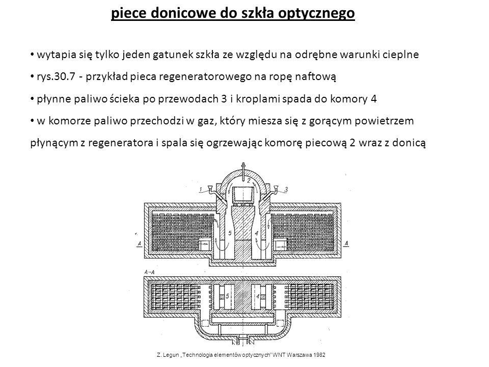 piece donicowe do szkła optycznego wytapia się tylko jeden gatunek szkła ze względu na odrębne warunki cieplne rys.30.7 - przykład pieca regeneratorow