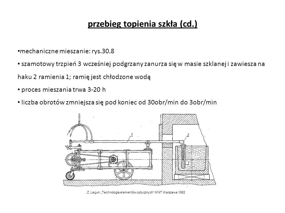 przebieg topienia szkła (cd.) mechaniczne mieszanie: rys.30.8 szamotowy trzpień 3 wcześniej podgrzany zanurza się w masie szklanej i zawiesza na haku