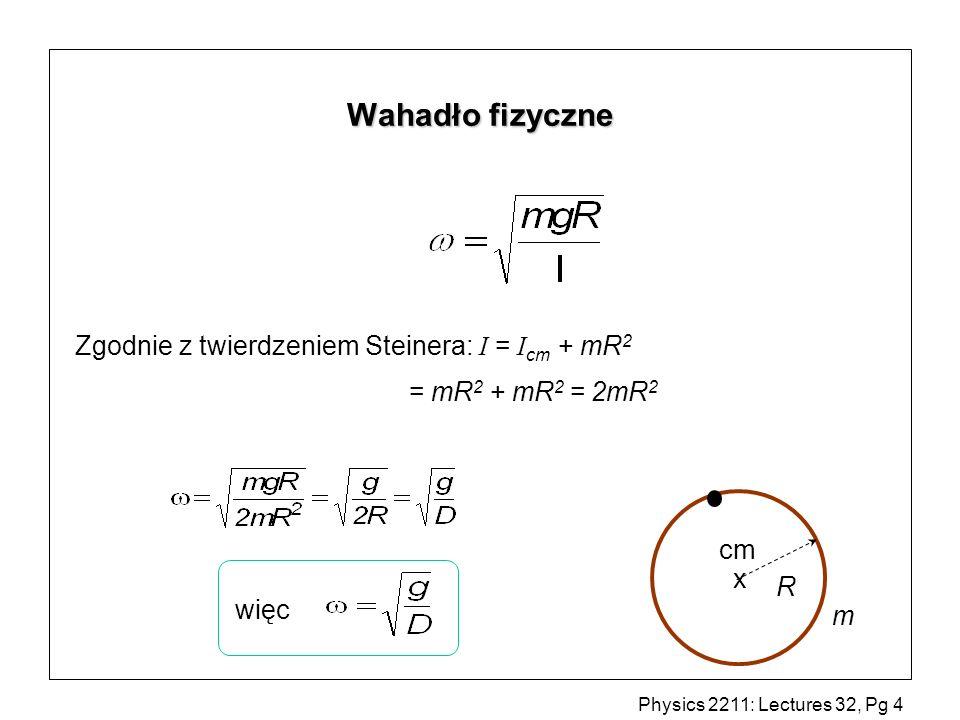 Physics 2211: Lectures 32, Pg 5 Wahadło torsyjne = -k I drut