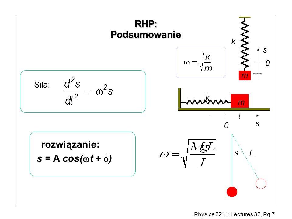 Physics 2211: Lectures 32, Pg 8 Energia potencjalna sprężystości