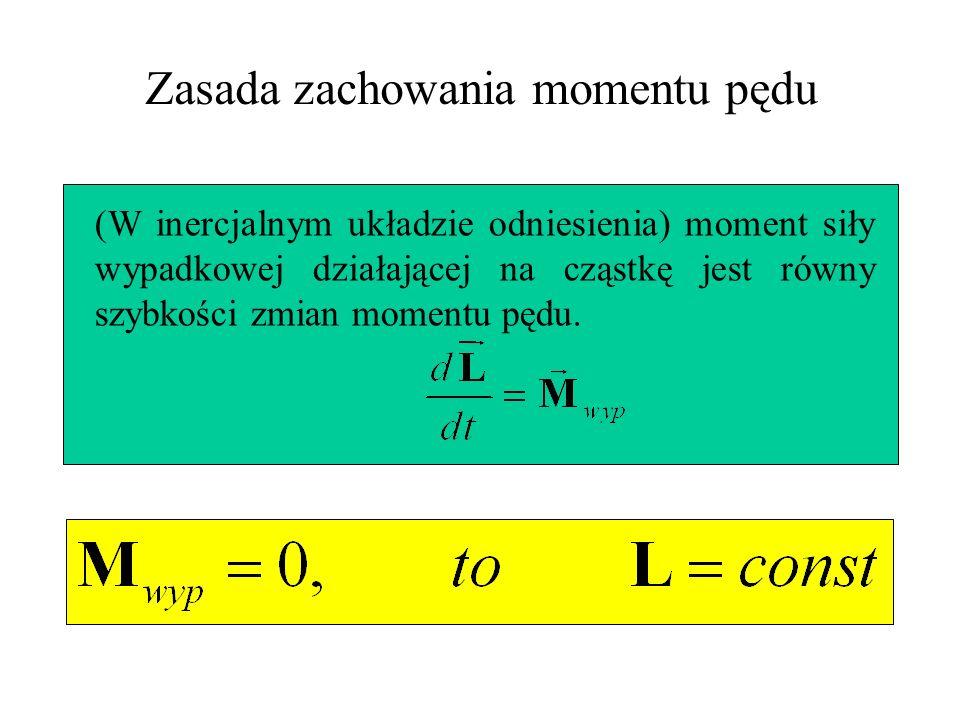 Zasada zachowania momentu pędu (W inercjalnym układzie odniesienia) moment siły wypadkowej działającej na cząstkę jest równy szybkości zmian momentu p
