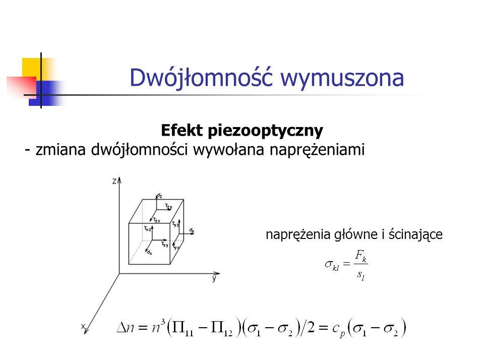 Dwójłomność wymuszona Efekt elastooptyczny – zmiana dwójłomności wywołana odkształceniami prawo Hookea