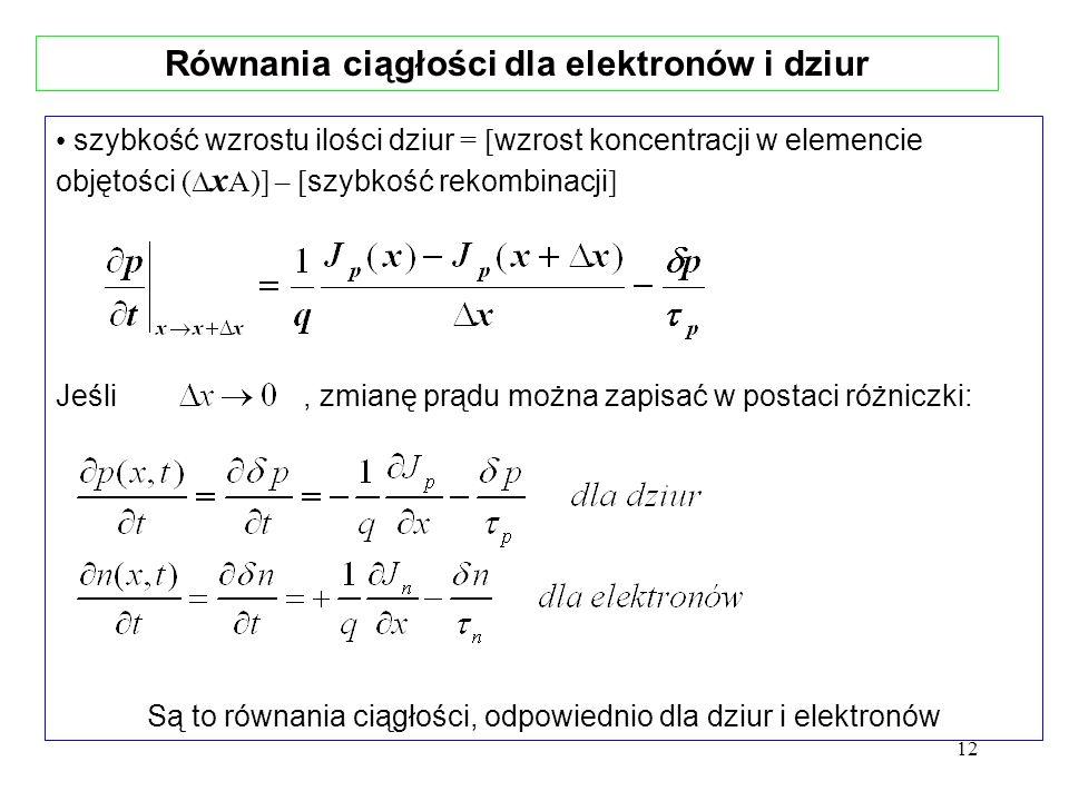 12 szybkość wzrostu ilości dziur = [ wzrost koncentracji w elemencie objętości ( x A)] – [ szybkość rekombinacji ] Jeśli, zmianę prądu można zapisać w