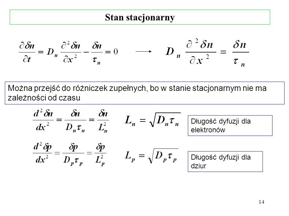 14 Długość dyfuzji dla elektronów Długość dyfuzji dla dziur Można przejść do różniczek zupełnych, bo w stanie stacjonarnym nie ma zależności od czasu