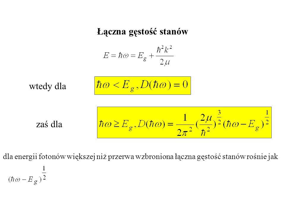 wtedy dla zaś dla dla energii fotonów większej niż przerwa wzbroniona łączna gęstość stanów rośnie jak Łączna gęstość stanów