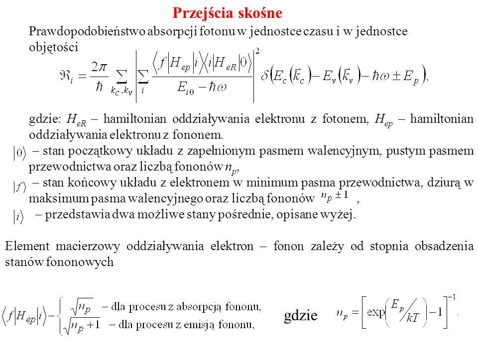 gdzie: H eR – hamiltonian oddziaływania elektronu z fotonem, H ep – hamiltonian oddziaływania elektronu z fononem. – stan początkowy układu z zapełnio