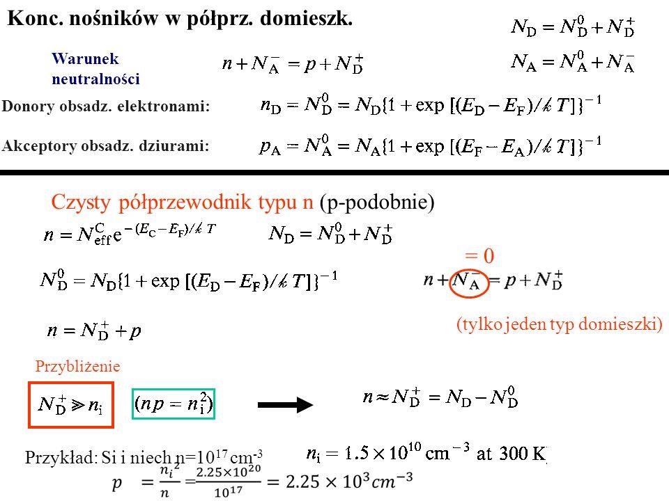 Warunek neutralności Czysty półprzewodnik typu n (p-podobnie) = 0 Donory obsadz. elektronami: Akceptory obsadz. dziurami: Przybliżenie (tylko jeden ty