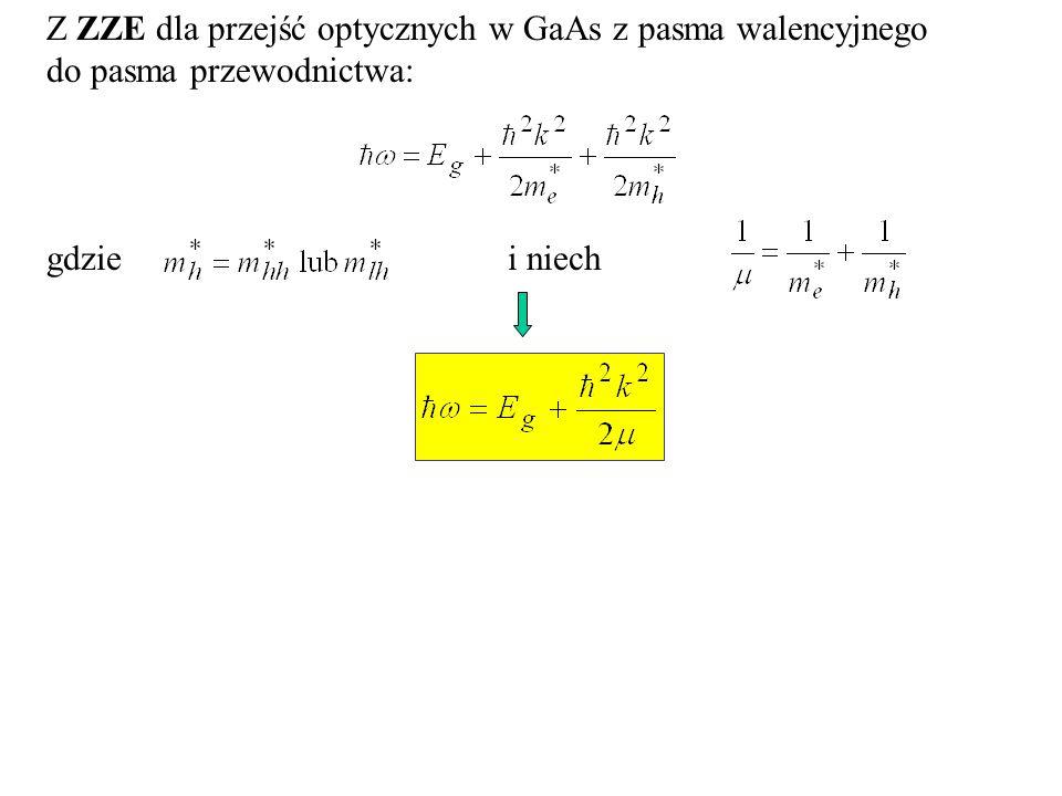 Koncentracja nośników Przybl. parabol. (swob.elektron): m*: masa efektywna Elektrony: Dziury: