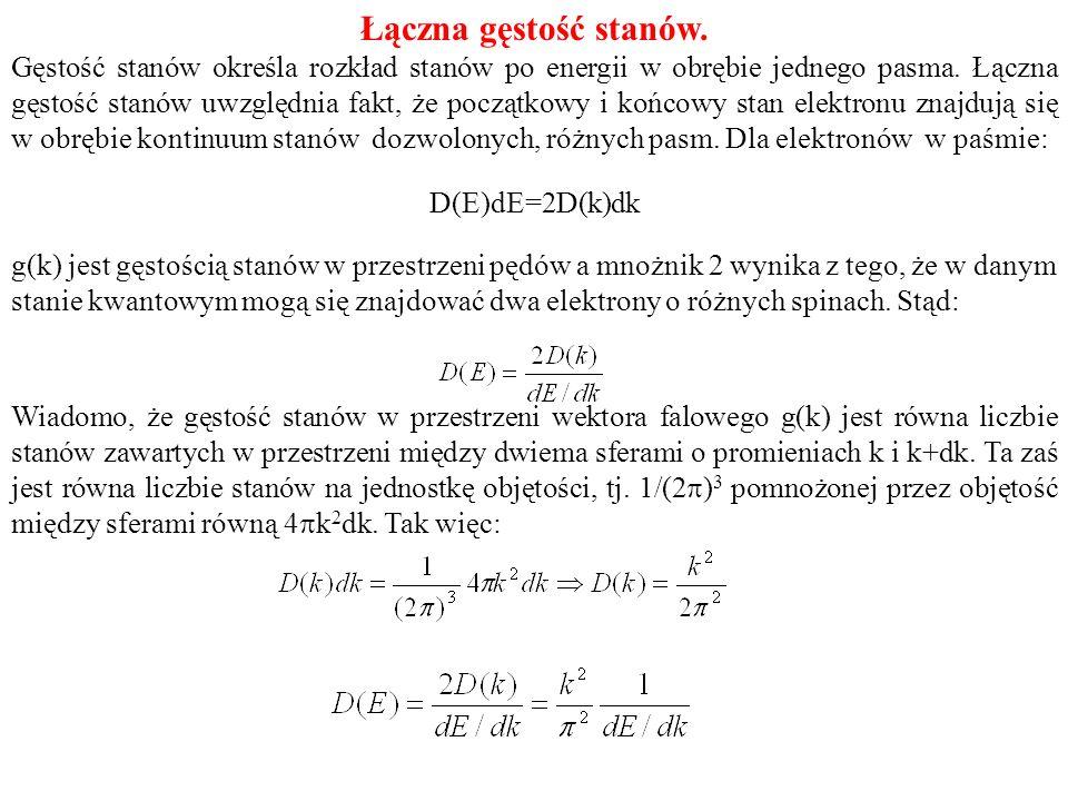 Łączna gęstość stanów. Gęstość stanów określa rozkład stanów po energii w obrębie jednego pasma. Łączna gęstość stanów uwzględnia fakt, że początkowy