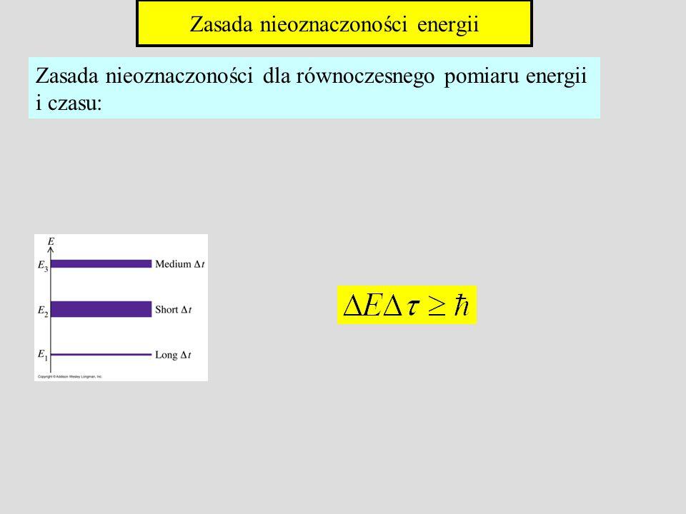 Zasada nieoznaczoności dla równoczesnego pomiaru energii i czasu: Zasada nieoznaczoności energii