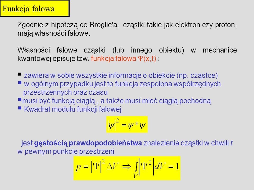 Zgodnie z hipotezą de Broglie'a, cząstki takie jak elektron czy proton, mają własności falowe. Własności falowe cząstki (lub innego obiektu) w mechani