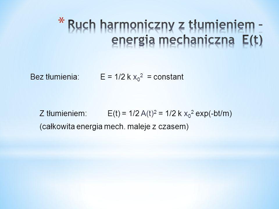 Bez tłumienia: E = 1/2 k x 0 2 = constant Z tłumieniem: E(t) = 1/2 A(t) 2 = 1/2 k x 0 2 exp(-bt/m) (całkowita energia mech.