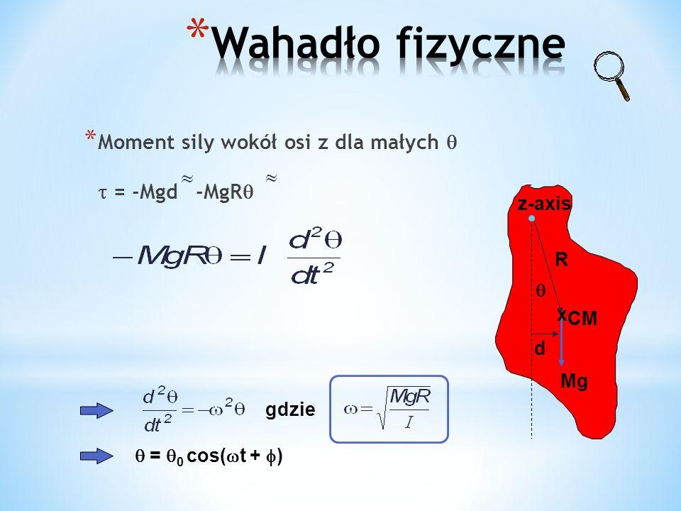 * Moment sily wokół osi z dla małych = -Mgd -MgR d Mg z-axis R x CM gdzie = 0 cos( t + )