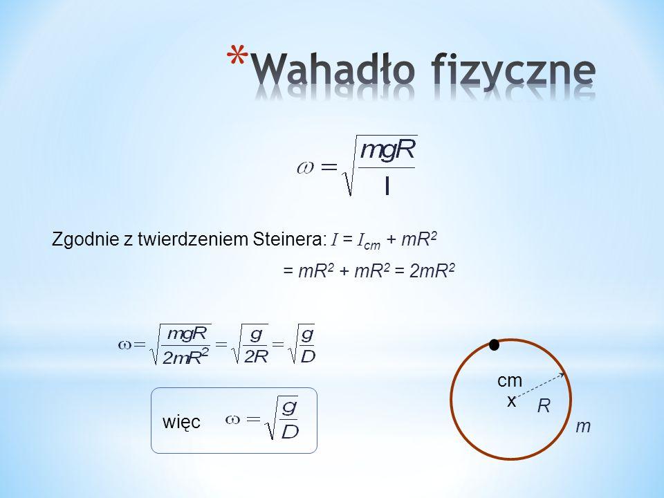 R cm x Zgodnie z twierdzeniem Steinera: I = I cm + mR 2 m = mR 2 + mR 2 = 2mR 2 więc