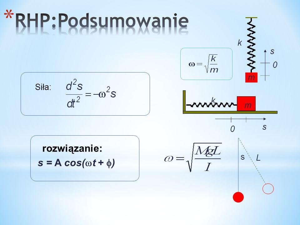 rozwiązanie: s = A cos( t + ) Siła: k s m 0 k m s 0 s L