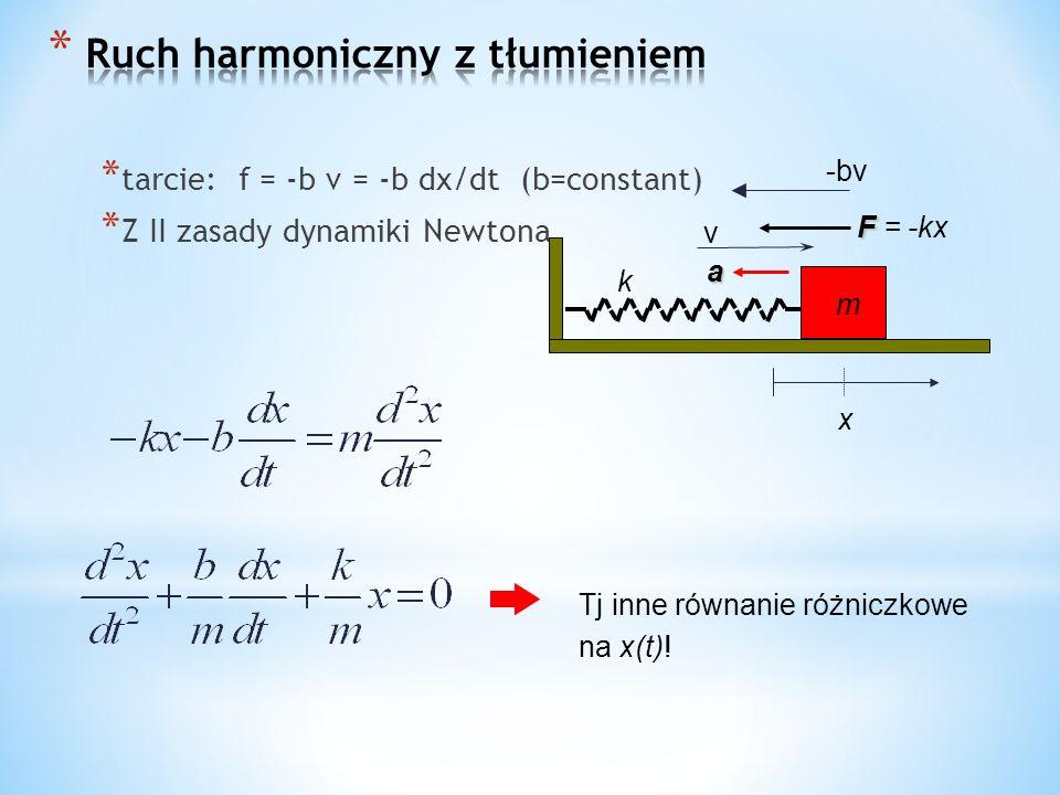 * tarcie: f = -b v = -b dx/dt (b=constant) * Z II zasady dynamiki Newtona k x m F F = -kx a Tj inne równanie różniczkowe na x(t).