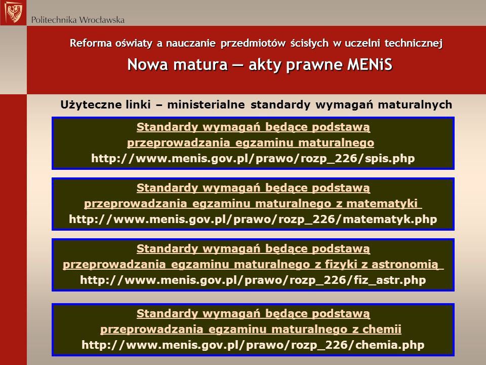 Reforma oświaty a nauczanie przedmiotów ścisłych w uczelni technicznej Nowa matura akty prawne MENiS Użyteczne linki – ministerialne standardy wymagań