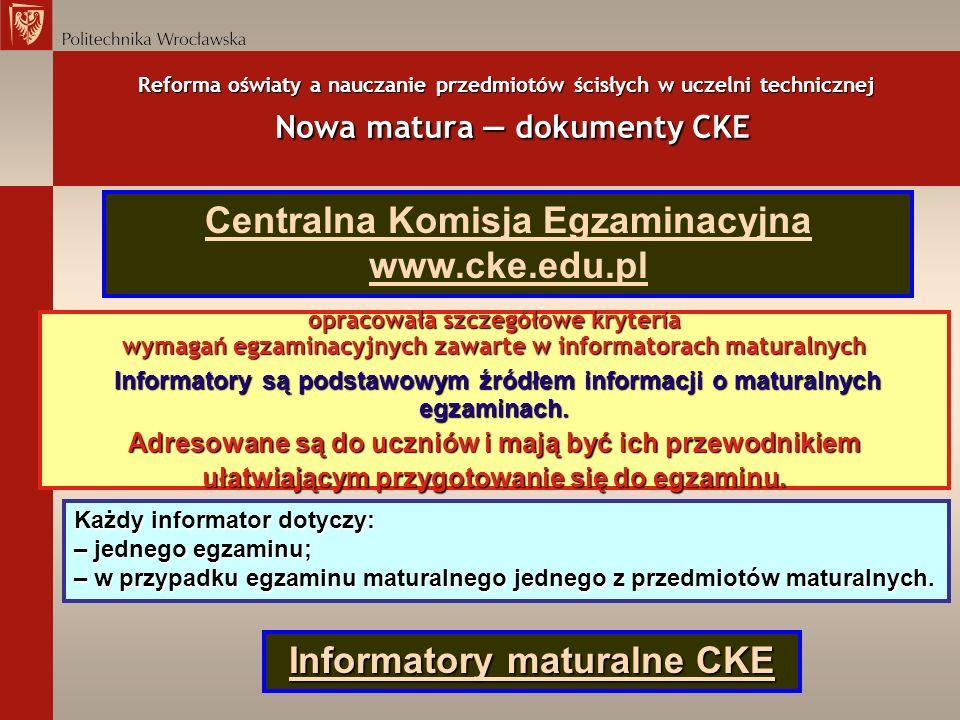 Reforma oświaty a nauczanie przedmiotów ścisłych w uczelni technicznej Nowa matura dokumenty CKE opracowała szczegółowe kryteria wymagań egzaminacyjny