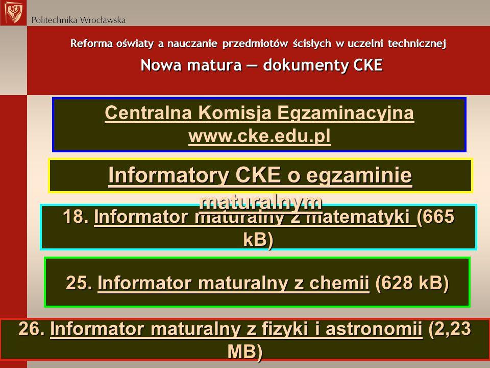 Reforma oświaty a nauczanie przedmiotów ścisłych w uczelni technicznej Nowa matura dokumenty CKE 18. Informator maturalny z matematyki (665 kB) Inform