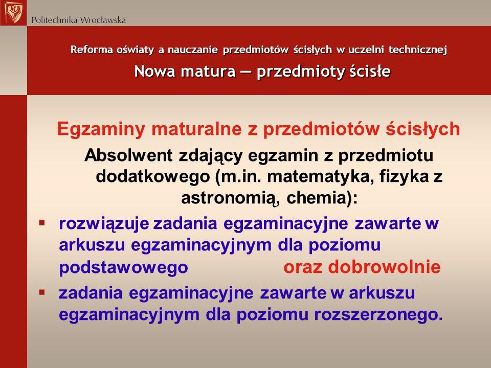 Reforma oświaty a nauczanie przedmiotów ścisłych w uczelni technicznej Nowa matura przedmioty ścisłe Egzaminy maturalne z przedmiotów ścisłych Absolwe