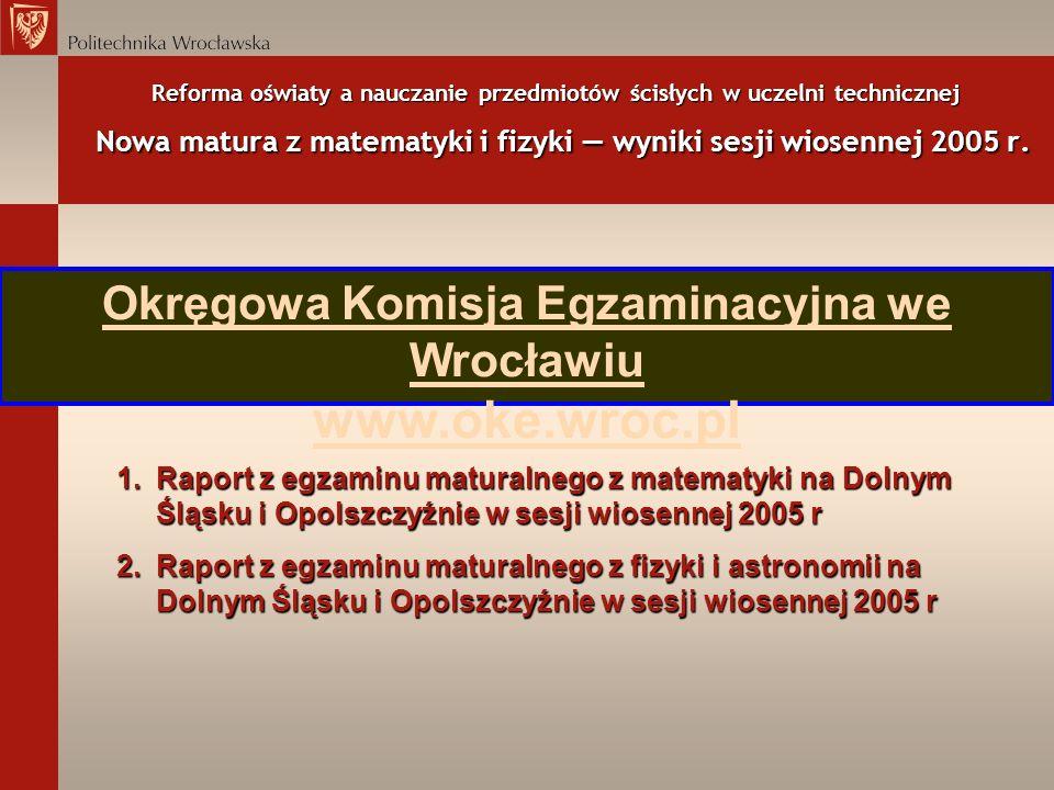 Reforma oświaty a nauczanie przedmiotów ścisłych w uczelni technicznej Nowa matura z matematyki i fizyki wyniki sesji wiosennej 2005 r. Okręgowa Komis