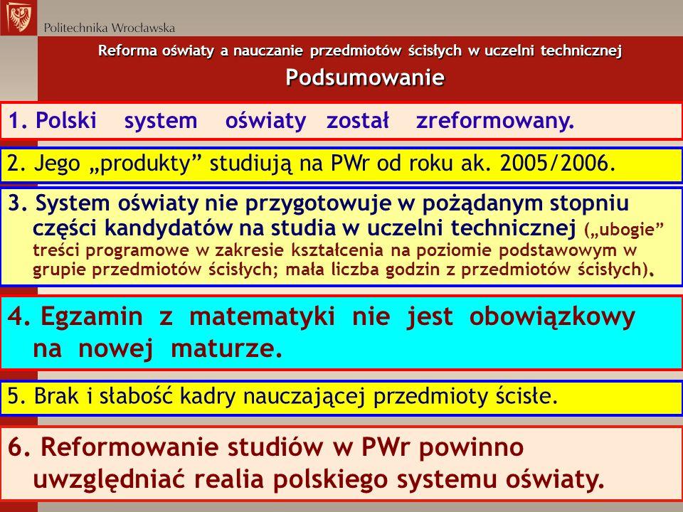 Reforma oświaty a nauczanie przedmiotów ścisłych w uczelni technicznej Podsumowanie 1. Polski system oświaty został zreformowany.. 3. System oświaty n