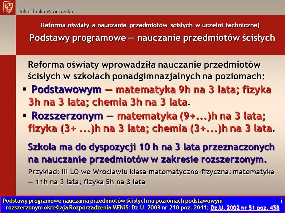 Reforma oświaty a nauczanie przedmiotów ścisłych w uczelni technicznej Nowa matura dlaczego.
