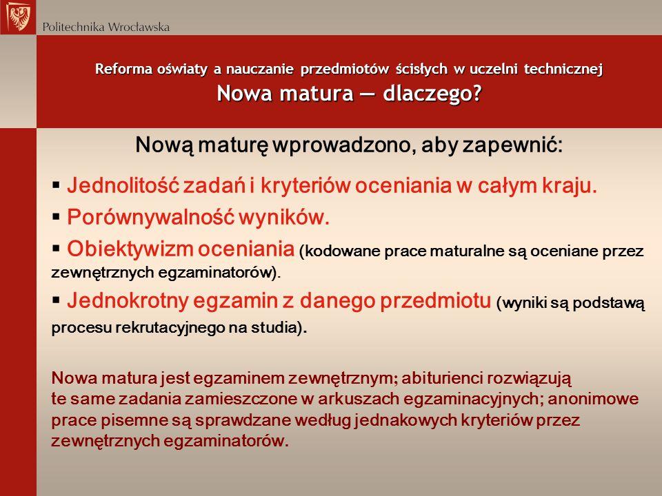 Reforma oświaty a nauczanie przedmiotów ścisłych w uczelni technicznej Nowa matura z matematyki i fizyki wyniki sesji wiosennej 2005 r.