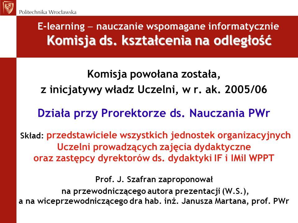 E-learning nauczanie wspomagane informatycznie Prace rozwojowe, plany na przyszłość Ogólnouczelniany portal edukacyjny Prace w Dziale Informatyzacji PWr ePORTAL ePORTAL istnieje od grudnia 2003 (obecnie 69 kursów), oprogramowanie Moodle, baza sprzętowa przestarzała, testPORTAL testPORTAL do prób i testów, dostęp celowo ograniczony.