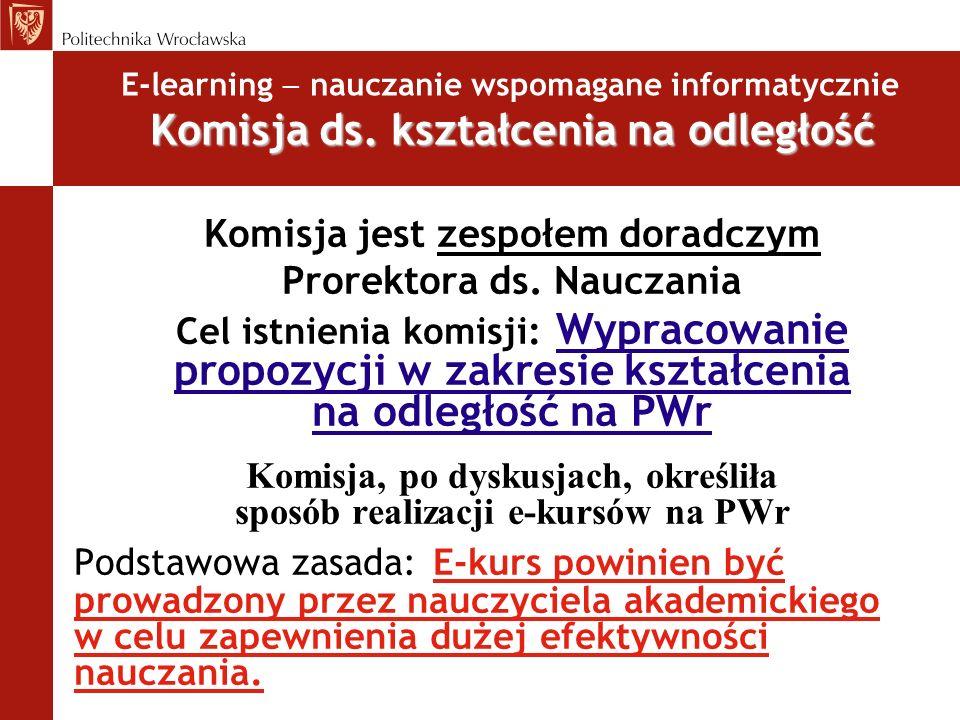 E-learning nauczanie wspomagane informatycznie Propozycje projektów e-kursów Komisja, po dyskusjach na posiedzeniach, zaproponowała Prorektorowi ds.