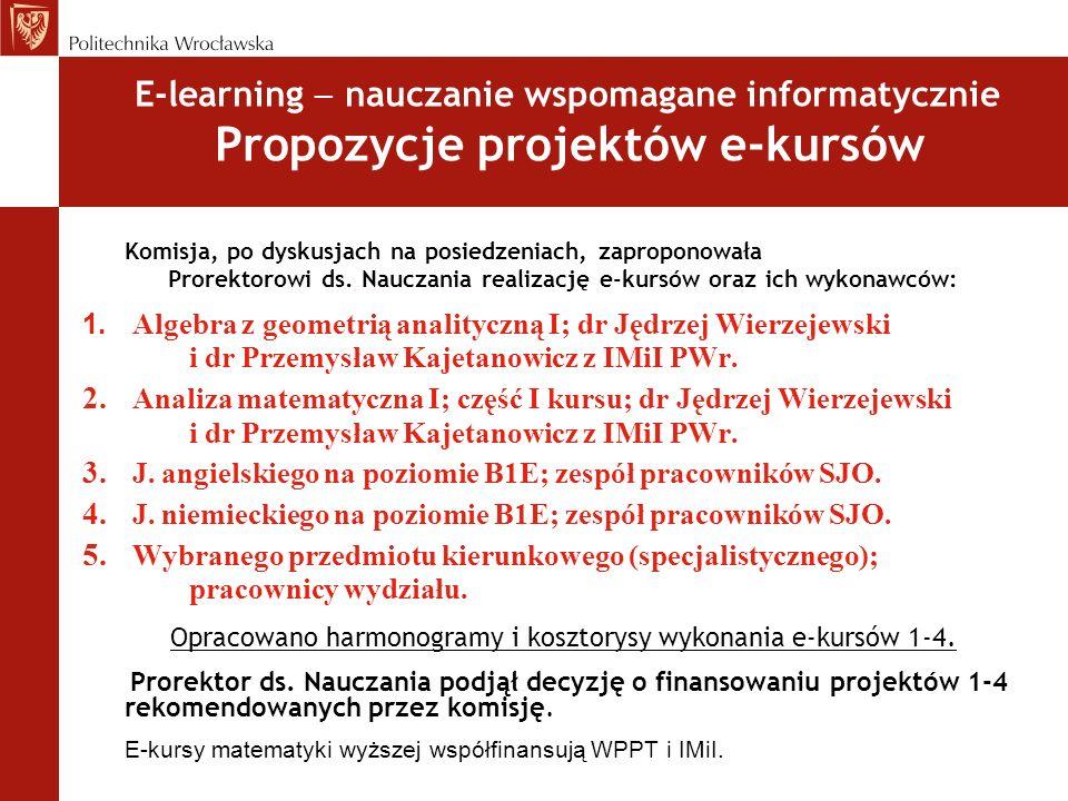E-learning nauczanie wspomagane informatycznie Propozycje projektów e-kursów Komisja, po dyskusjach na posiedzeniach, zaproponowała Prorektorowi ds. N