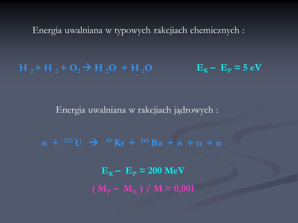 Energia uwalniana w typowych rakcjiach chemicznych : H 2 + H 2 + O 2 H 2 O + H 2 O Energia uwalniana w rakcjiach jądrowych : n + 235 U 90 Kr + 143 Ba