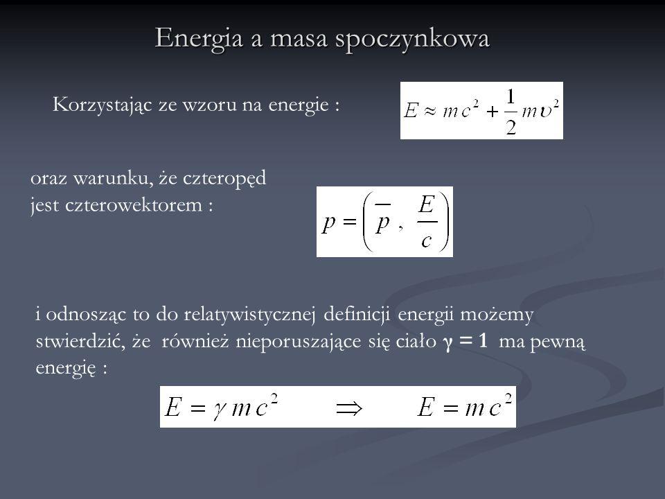 Energia a masa spoczynkowa Korzystając ze wzoru na energie : oraz warunku, że czteropęd jest czterowektorem : i odnosząc to do relatywistycznej defini