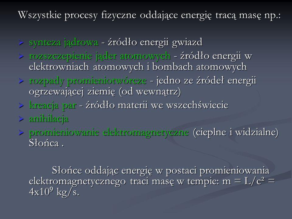 Wszystkie procesy fizyczne oddające energię tracą masę np.: synteza jądrowa - źródło energii gwiazd synteza jądrowa - źródło energii gwiazd rozszczepi