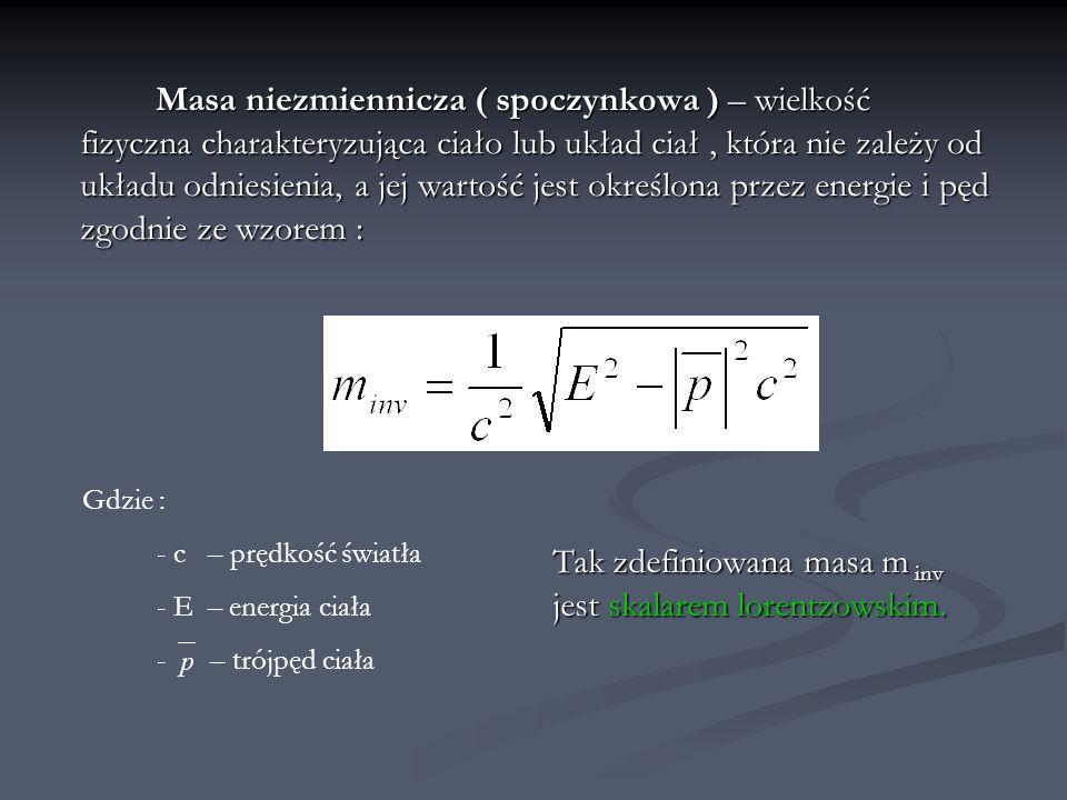Energia a masa spoczynkowa Korzystając ze wzoru na energie : oraz warunku, że czteropęd jest czterowektorem : i odnosząc to do relatywistycznej definicji energii możemy stwierdzić, że również nieporuszające się ciało γ = 1 ma pewną energię :