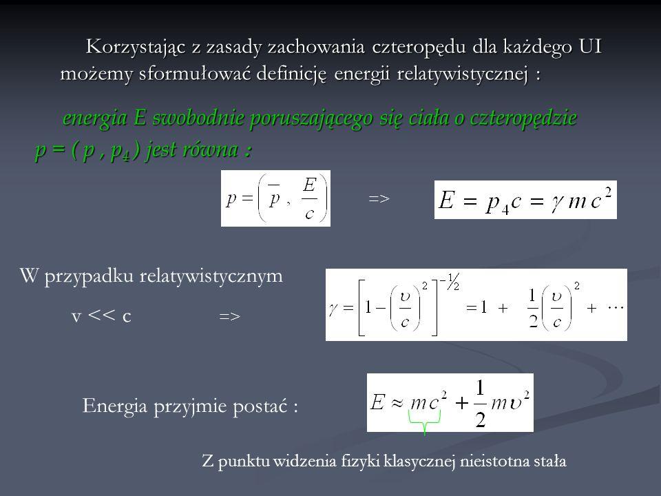 Rozważmy sprężyste zderzenie dwóch atomów o masach: m 1 p, m 2 p i prędkościach: v 1 p, v 2 p przed zderzeniem oraz m 1 k, m 2 k i v 1 k, v 2 k po zderzeniu : Jeżeli zderzenie nieralywistyczne : Stąd : Zgodnie z założeniami fizyki klsycznej :