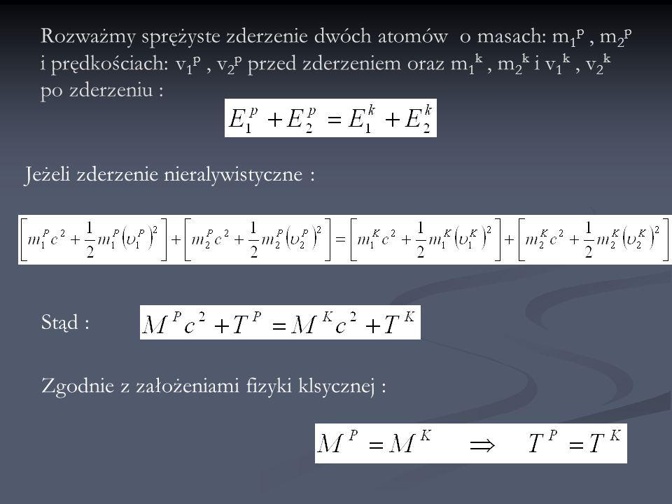 Niech teraz te same atomy zderzą się nierelatywistycznie i niesprężyście : Wówczas Niech A ponieważ całkowita relatywistyczna energia E jest zachowana to : Bardzo mała wielkość