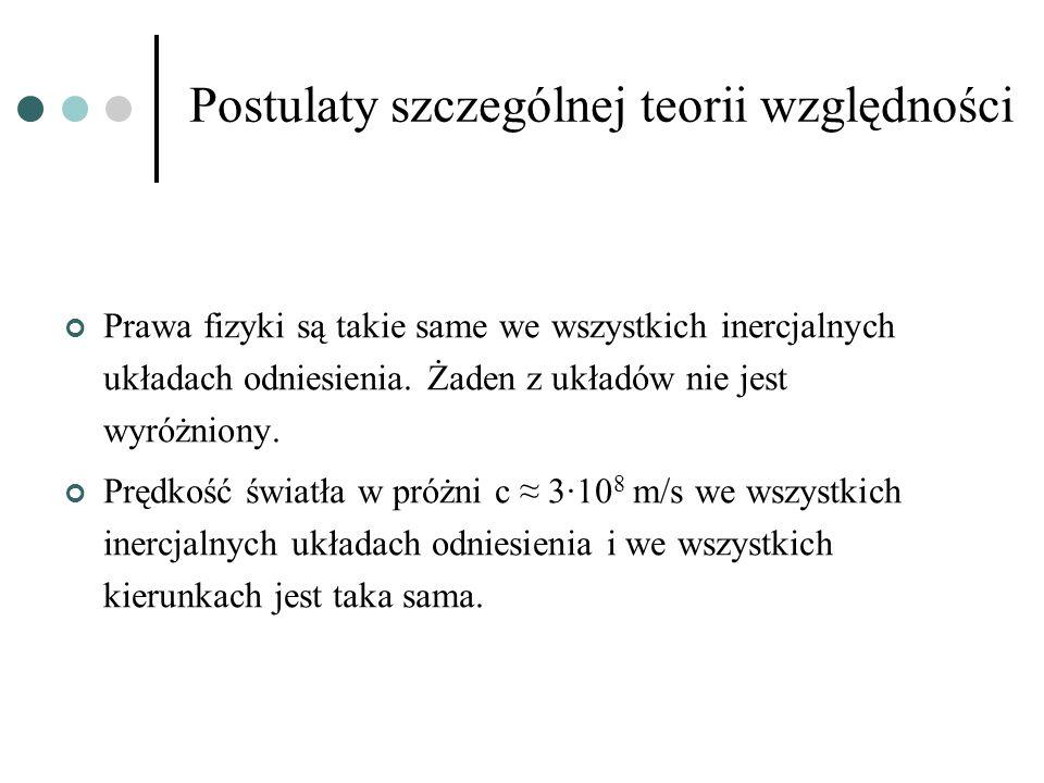 Postulaty szczególnej teorii względności Prawa fizyki są takie same we wszystkich inercjalnych układach odniesienia. Żaden z układów nie jest wyróżnio